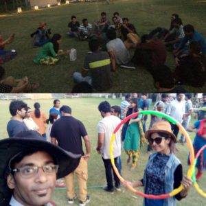 Chennai Stage Emcees Nandhini and Thamizharasan hosting Corporate Team Outing