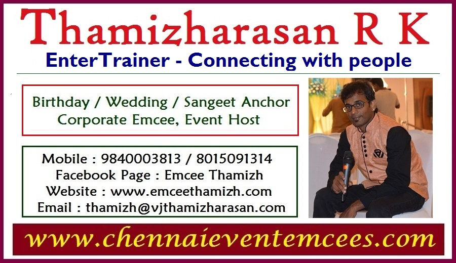 Master of ceremony Thamizharasan Event Emcee in Chennai contact information