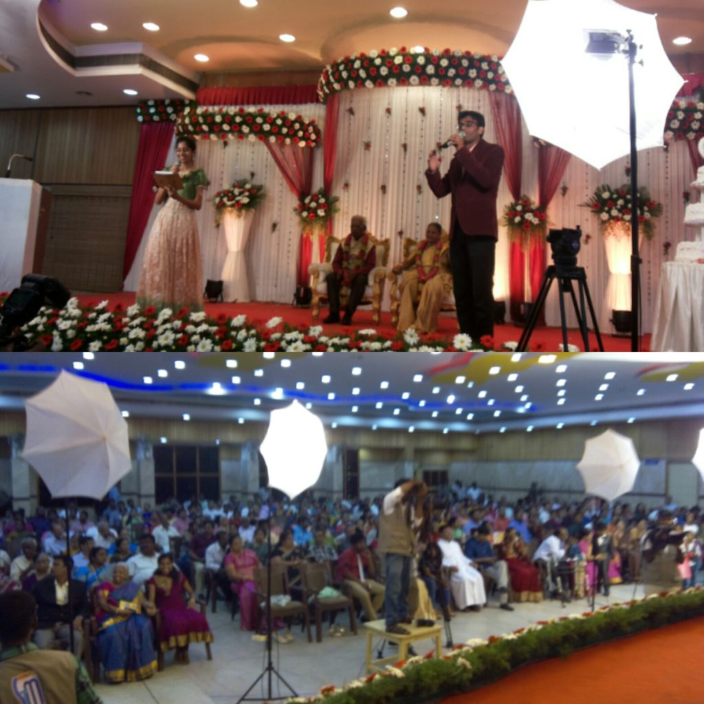 Tamilnadu Event Emcees Nandhini and Thamizharasan hosting Golden Jubilee Wedding Anniversary
