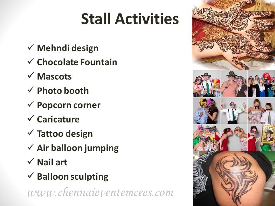 Other Event Services - Stall activities list for a birthday party