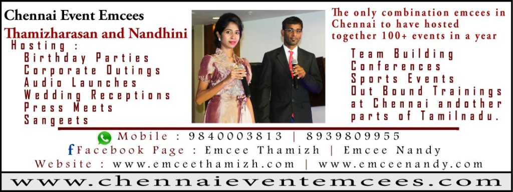 Chennai Event Emcees Thamizharasan and Nandhini giving tips to host New Year Party
