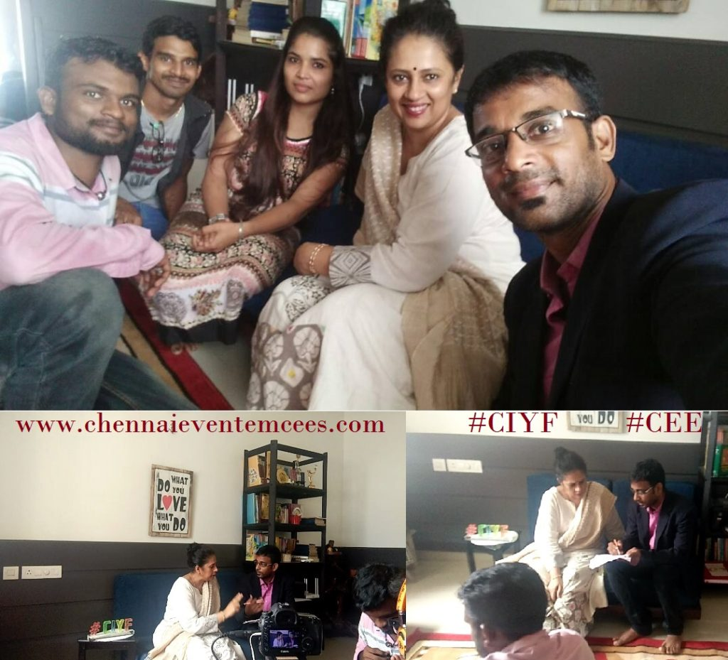 Chennai Event Emcees Thamizharasan and Team with Actor Director Lakshmy Ramakrishnan for CIYF Shoot