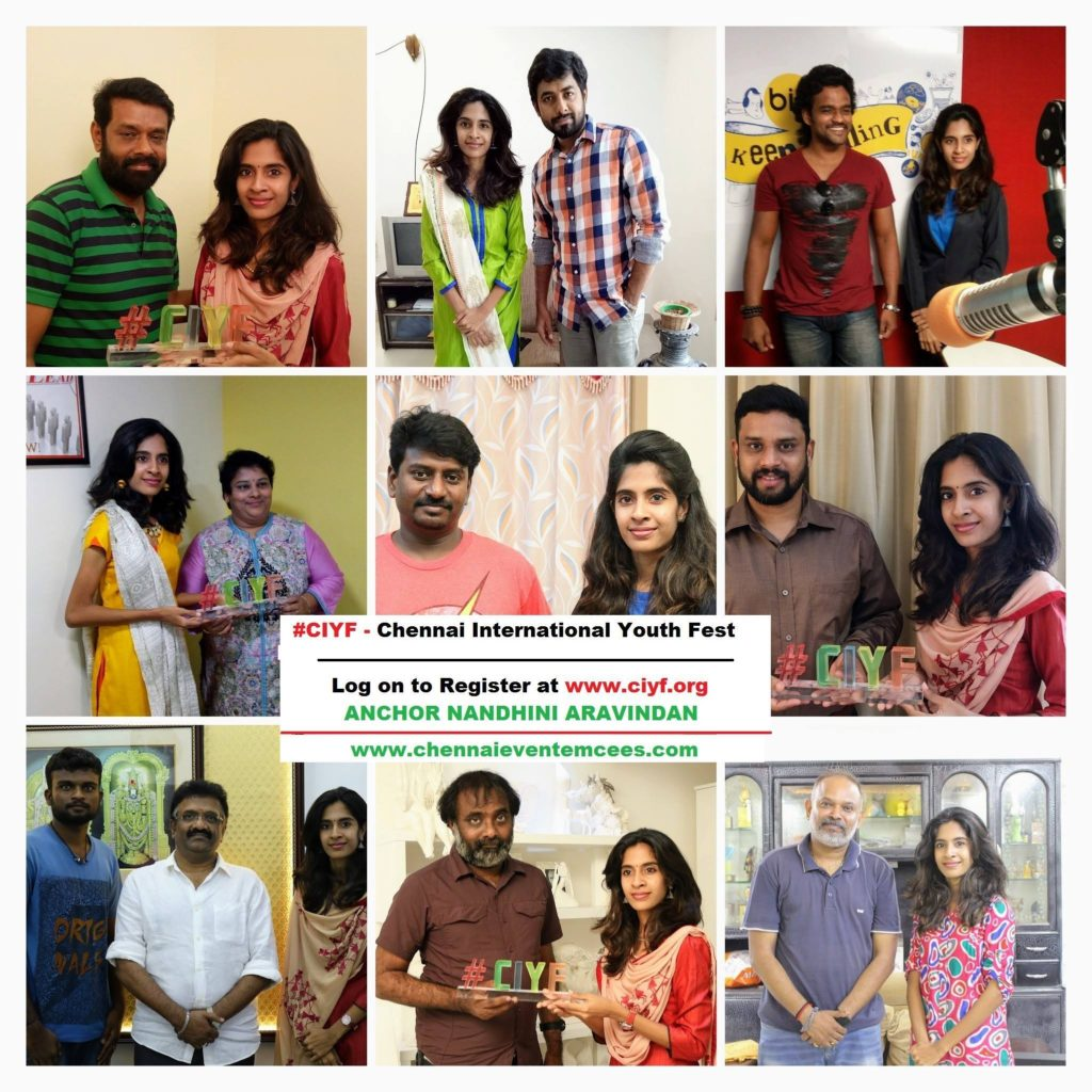Chennai Event Emcees Nandhini and Team with Celebrities for CIYF Shoot