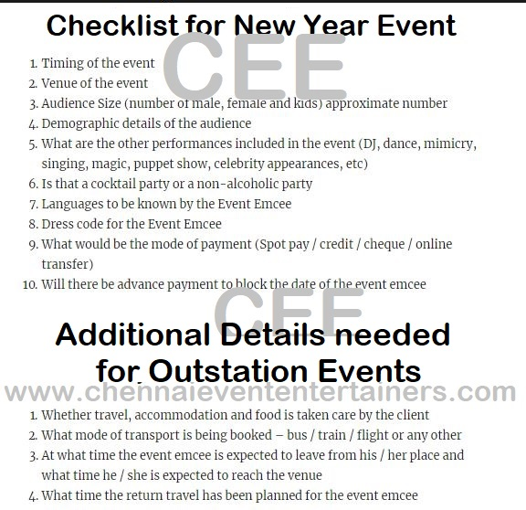 Checklist New Year Party Events Clients and Event Managers to give to Anchors