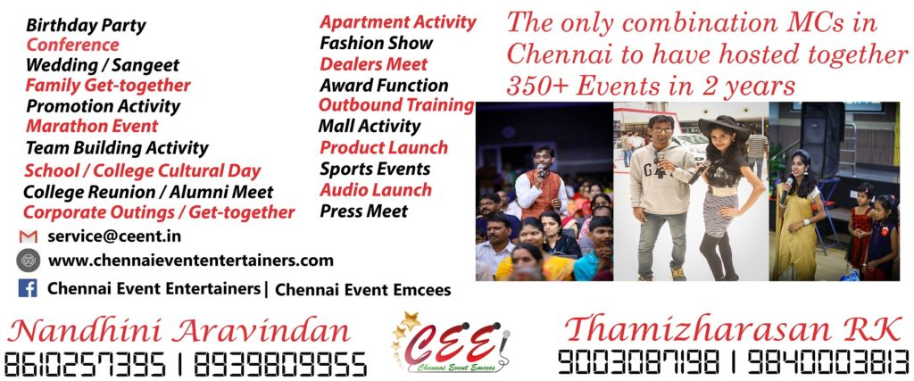Chennai Event Entertainers Nandhini and Thamizharasan