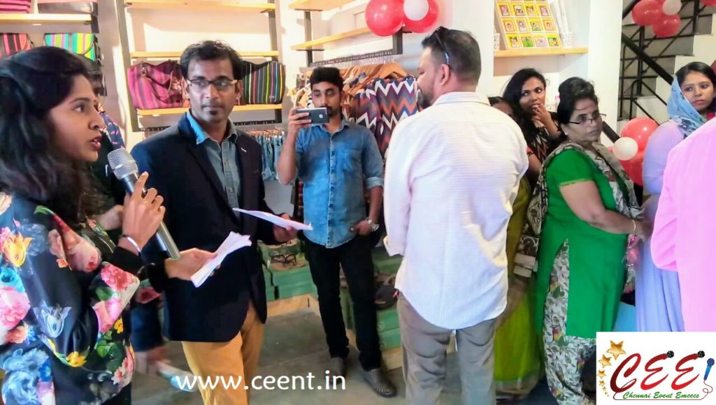 Chennai Event Emcees and Entertainers Nandhini A and Thamizharasan RK at 5th Avenue Multistore Launch