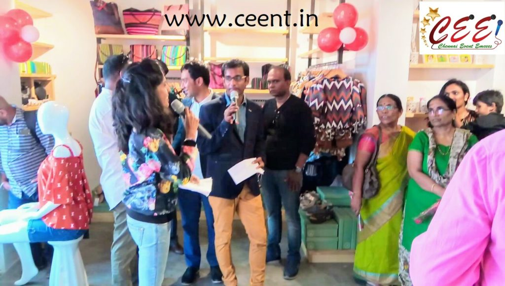 Chennai Event Entertainers and Emcees Nandy and Thamizharasan RK at 5th Avenue Multistore Launch Bessie