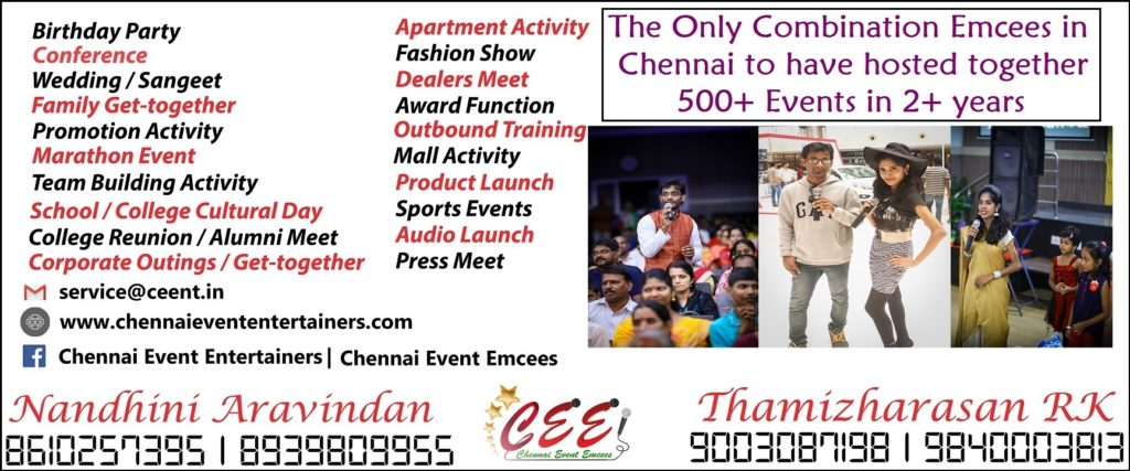 Chennai Event Emcees and Entertainers Nandhini Aravindan and Thamizharasan Karunakaran