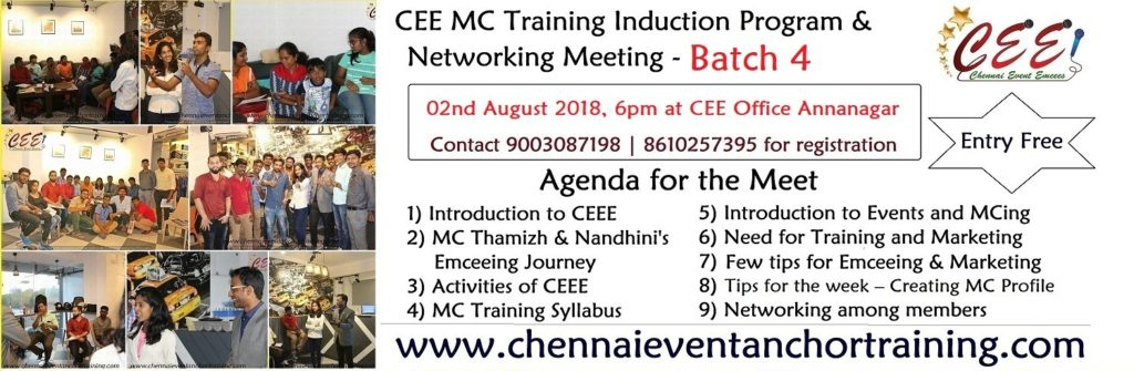 Chennai Event Emcees MC Training Induction Program and Networking Meeting Batch 4 at Annanagar CEE Office 2