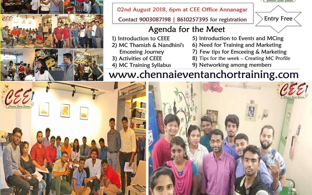 CEE MC Training Induction Program and Networking Meeting on 02nd August 2018 Thursday 6pm at Annanagar CEE Office