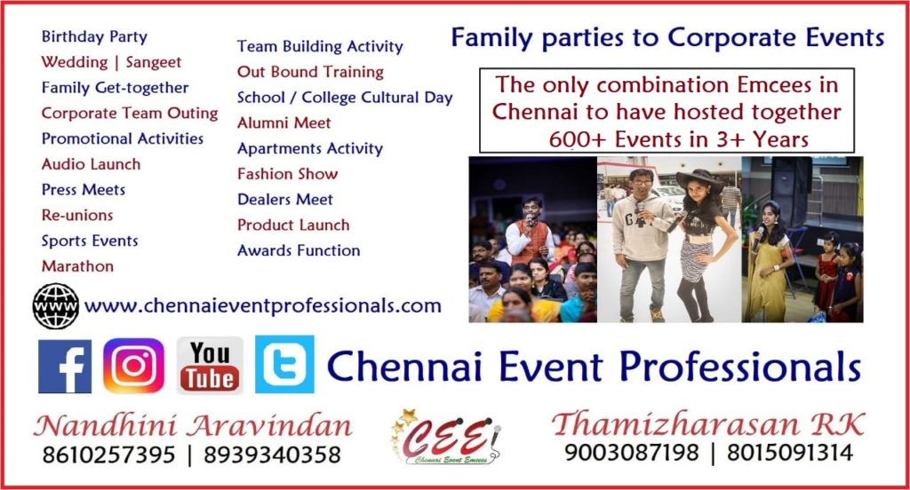 Chennai Event Emcees Professionals Business Card contact Information