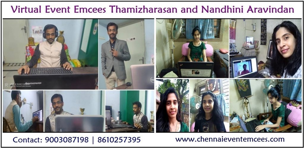 Virtual Event Emcees Thamizharasan and Nandhini Aravindan from Chennai Tamilnadu India 5a